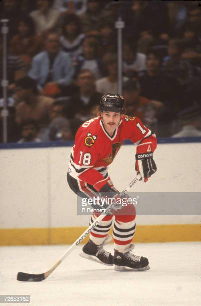 Canadian professional ice hockey player Denis Savard of the Chicago Blackhawks skates on the ice during an away game 1980s Savard played for the...