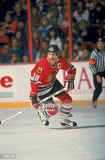 Canadian professional ice hockey player Denis Savard of the Chicago Blackhawks skates on the ice during an away game December 1988 Savard played for...