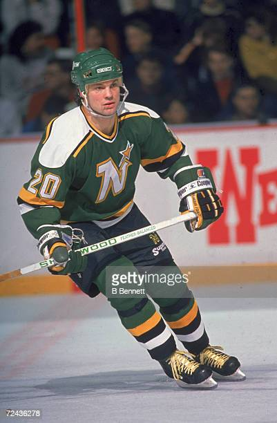 Canadian professional ice hockey player Dino Ciccarelli of the Minnesota North Stars skates on the ice during an away game 1980s Dino Ciccarelli...
