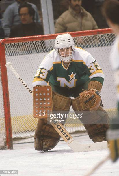 Canadian professional ice hockey player Don Beaupre goalie of the Minnesota North Stars defends the goal during a game November 1980 Beaupre played...