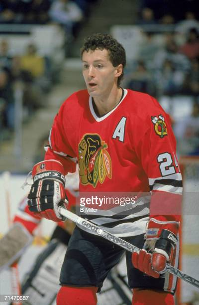 Canadian professional ice hockey player Doug Wilson of the Chicago Blackhawks skates on the ice during a road game against the New York Islanders...