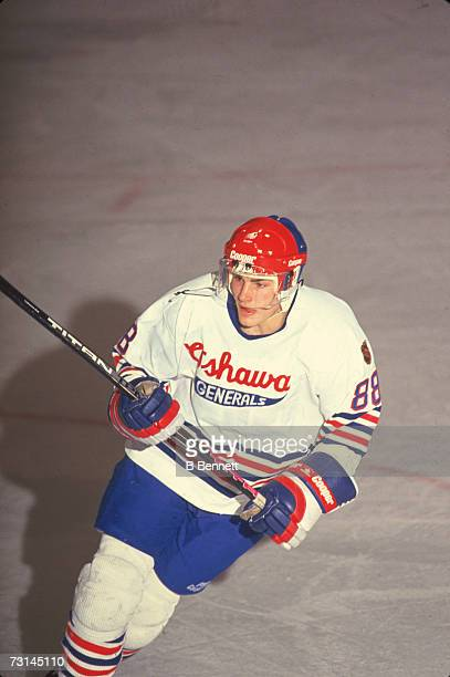 Canadian professional ice hockey player Eric Lindros of the Ontario Hockey League's Oshawa Generals on the ice during a home game Oshawa Ontario...