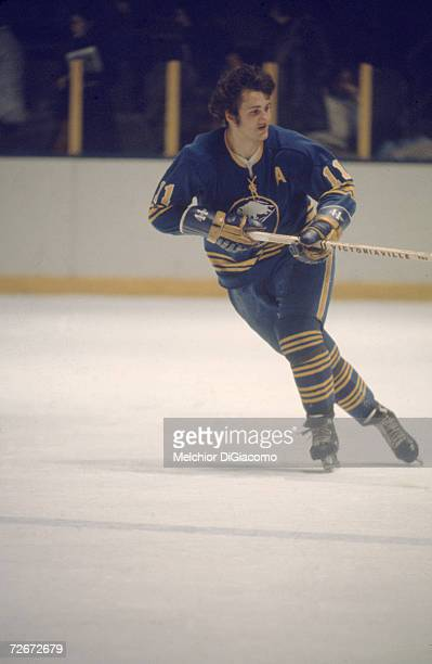 Canadian professional ice hockey player Gilbert Perreault of the Buffalo Sabres skates on the ice during an away game 1970s Perreault played for the...