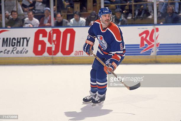 Canadian professional ice hockey player Glenn Anderson of the Edmonton Oilers skates on the ice during a road game against the Los Angeles Kings, Los...