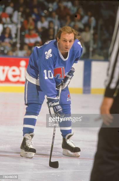 Canadian professional ice hockey player Guy Lafleur of the Quebec Nordiques on the ice during a road game late 1980s or early 1990s Guy Lafleur...