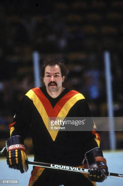 Canadian professional ice hockey player Harold Snepsts defenseman of the Vancouver Canucks on the ice during ana way game March 1984