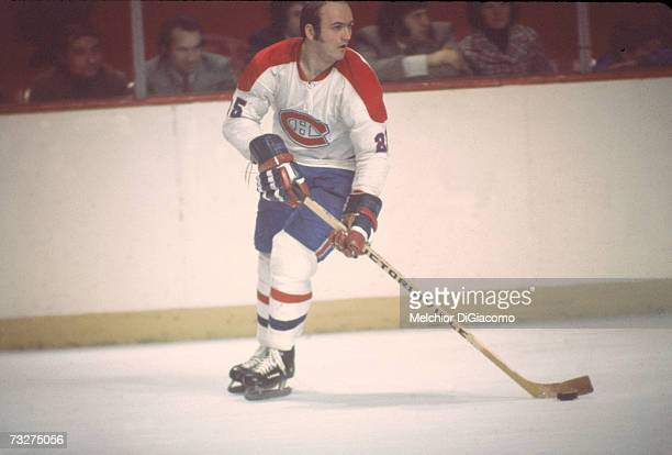Canadian professional ice hockey player Jacques Lemaire of the Montreal Canadiens on the ice during a home game, Montreal, Quebec, late 1960s or...