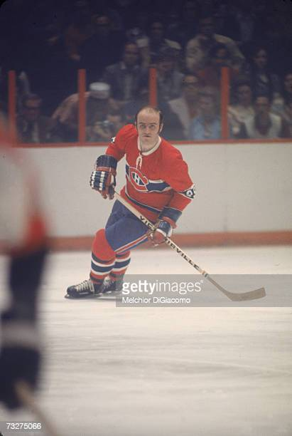 Canadian professional ice hockey player Jacques Lemaire of the Montreal Canadiens on the ice during an away game late 1960s or 1970s Lemaire played...