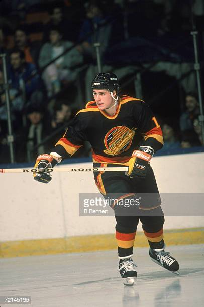 Canadian professional ice hockey player Jim Sandlak of the Vancouver Canucks skates on the ice during a road game April 1987 Sandlak played for...