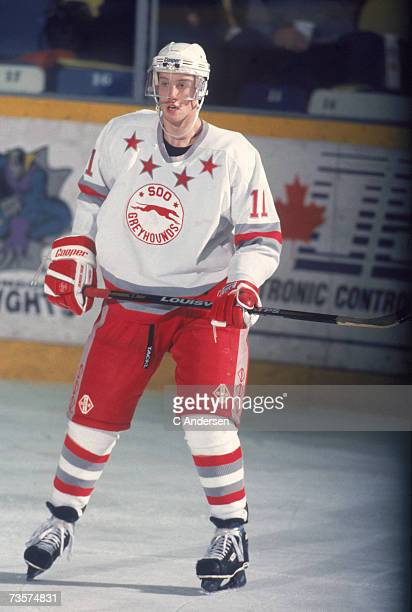Canadian professional ice hockey player Joe Thornton of the OHL's Sault Ste Marie Greyhounds skates on the ice during a game October 1995