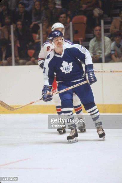 Canadian professional ice hockey player Lanny McDonald of the Toronto Maple Leafs skates on the ice during a game against the New York Rangers...