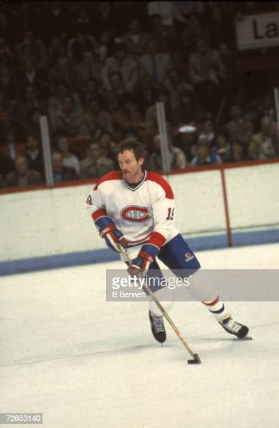 Canadian professional ice hockey player Larry Robinson of the Montreal Canadiens skates on the ice during a home game Montreal April 1984 Robinson...
