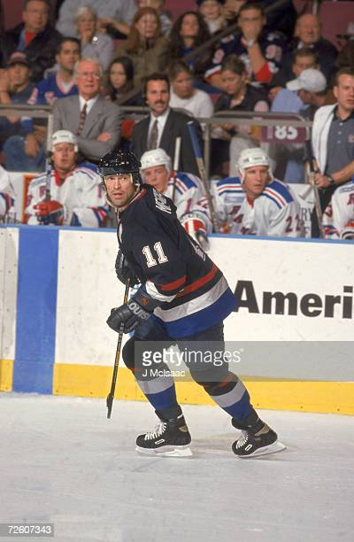 Canadian professional ice hockey player Mark Messier of the Vancouver Canucks on the ice during an away game against the New York Rangers Madison...