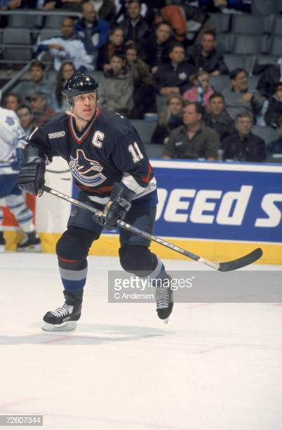 Canadian professional ice hockey player Mark Messier of the Vancouver Canucks on the ice during an away game, 1999 - 2000 season. Messier played with...