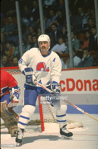 Canadian professional ice hockey player Michel Goulet of the Quebec Nordiques skates on the ice during a home game against the Montreal Canadiens...