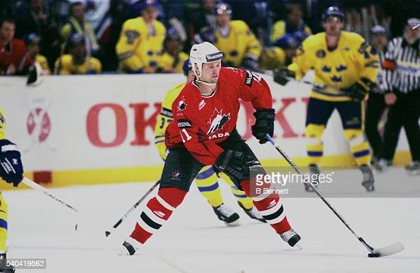 Canadian professional ice hockey player Owen Nolan right wing of Team Canada on the ice at the Men's World Ice Hockey Championships in Finland 1997...