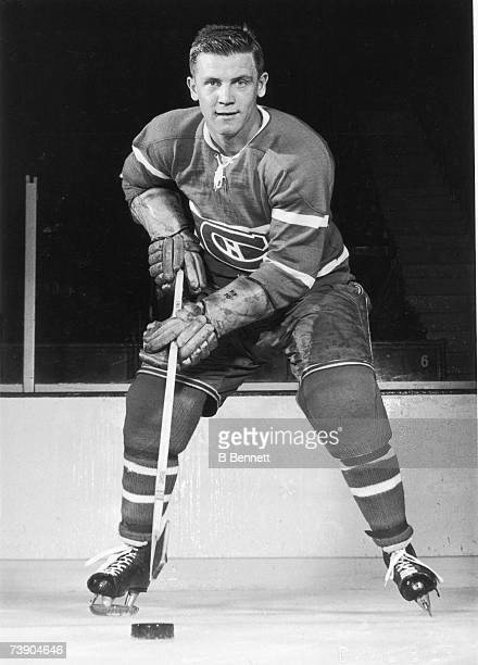 Canadian professional ice hockey player Ralph Backstrom of the Montreal Canadiens poses on the ice for a portrait early in his career, mid 20th...