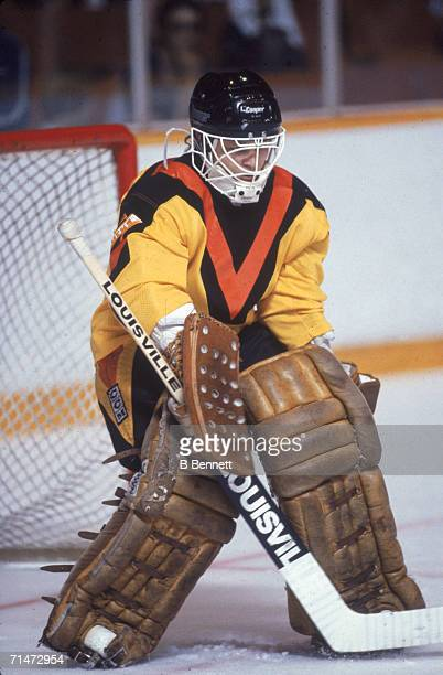 Canadian professional ice hockey player Richard Brodeur goalie of the Vancouver Canucks guards the goal during a home game Vancouver British Columbia...