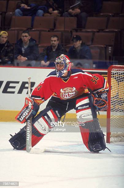 Canadian professional ice hockey player Roberto Luongo, goalie of the QMJHL's Acadie-Bathurst Titan, defends the goal during the league All Star...