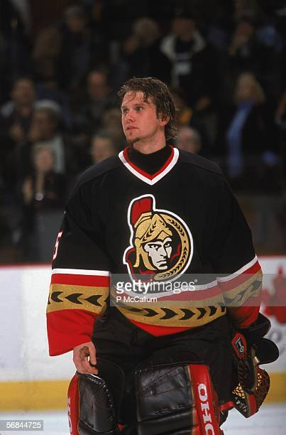 Canadian professional ice hockey player Simon Lajeunesse of the Ottawa Senators on the ice during a game November 2002