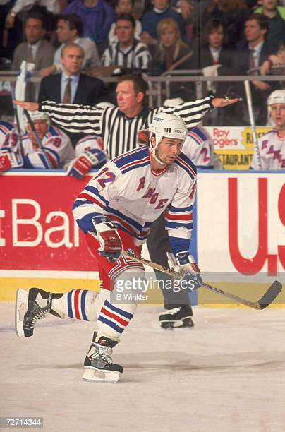 Canadian professional ice hockey player Stephane Matteau of the New York Rangers skates on the ice during a home game Madison Square Garden New York...