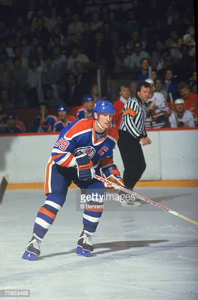Canadian professional ice hockey player Wayne Gretzky of the Edmonton Oilers skates on the ice during an away game against the Chicago Blackhawks,...