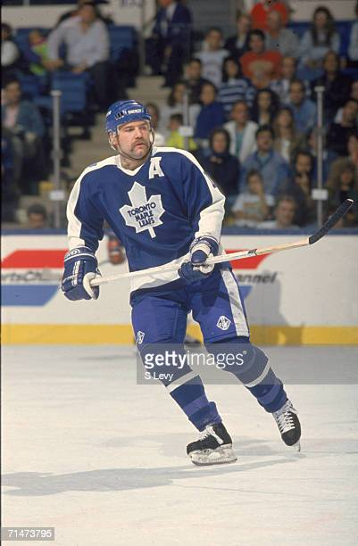 Canadian professional ice hockey player Wendel Clark of the Toronto Maple Leafs skates on the ice during a road game against the New York Islanders...