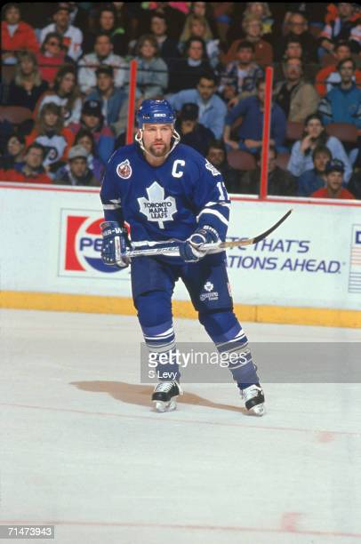 Canadian professional ice hockey player Wendel Clark of the Toronto Maple Leafs skates on the ice during a road game against the Philadelphia Flyers,...
