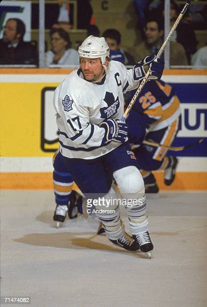 Canadian professional ice hockey player Wendel Clark of the Toronto Maple Leafs skates on the ice during a game against the St. Louis Blues, Toronto,...