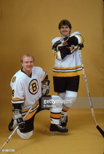 Canadian professional ice hockey players Ray Bourque and Rick Middleton of the Boston Bruins pose for a studio portrait October 1981