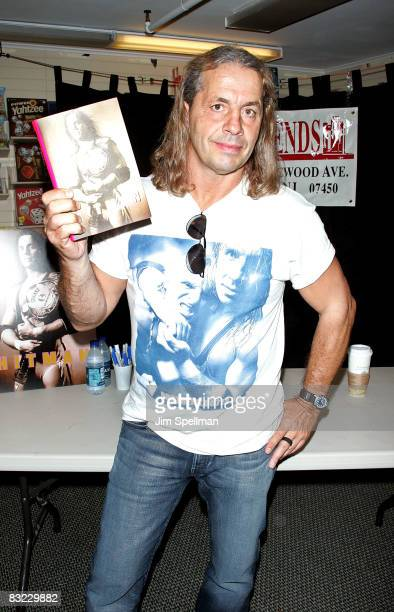 Canadian professional wrestler and actor Bret Hart signs copies of 'Hitman' at Bookends on October 11 2008 in Ridgewood New Jersey