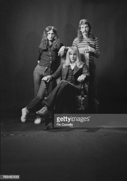 Canadian progressive rock group Rush Bakersfield California USA 26th September 1977 Left to right bassist Geddy Lee guitarist Alex Lifeson and...