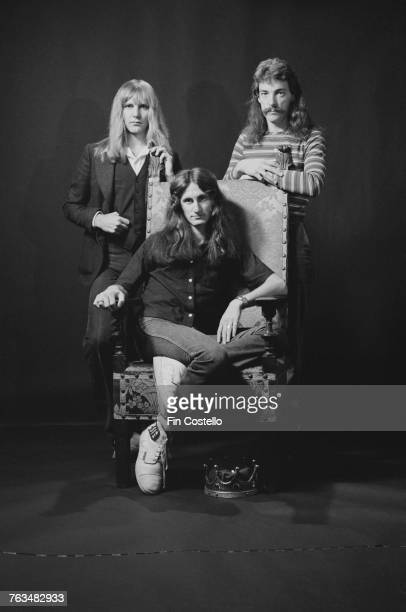 Canadian progressive rock group Rush Bakersfield California USA 26th September 1977 Left to right guitarist Alex Lifeson bassist Geddy Lee and...