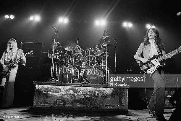 Canadian progressive rock group Rush performing at the Civic Center in Springfield Massachusetts during their All The World's a Stage tour 9th...