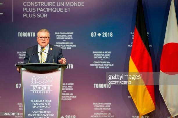 Canadian Public Safety Minister Ralph Goodale addresses the media during a press conference at the the Meeting of G7 Foreign and Security Ministers...