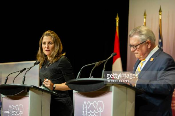 Canadian Public Safety Minister Ralph Goodale and Foreign Affairs Minister Chrystia Freeland address the media during a press conference at the the...