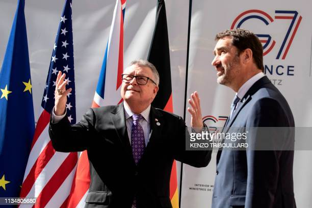 Canadian Public Safety Minister Ralph Goodale gestures next to French Interior Minister Christophe Castaner as he arrives for a meeting at the...