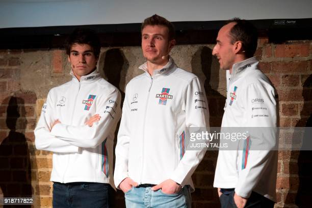 Canadian racing driver Lance Stroll Russian racing driver Sergey Sirotkin and Polish racing driver Robert Kublitsa answer questions during the...
