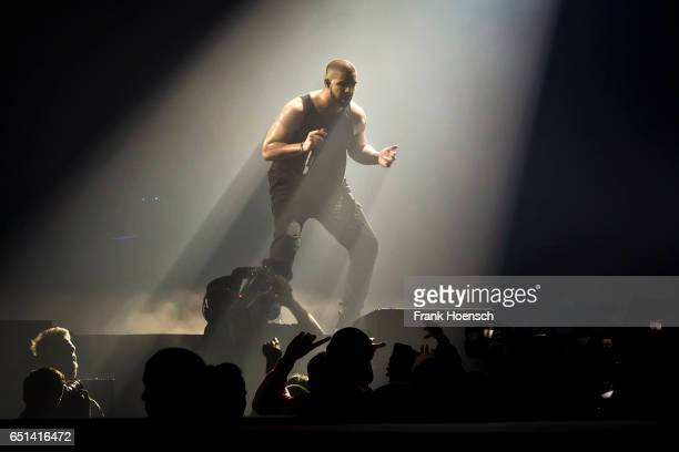 Canadian rapper Aubrey Drake Graham aka Drake performs live during a concert at the MercedesBenz Arena on March 9 2017 in Berlin Germany