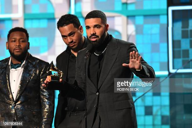 Canadian rapper Drake accepts the award for Best Rap Song for Gods Plan during the 61st Annual Grammy Awards on February 10 in Los Angeles
