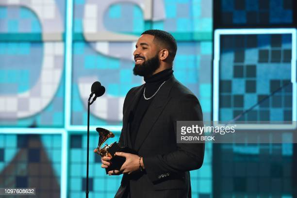 """Canadian rapper Drake accepts the award for Best Rap Song for """"Gods Plan"""" during the 61st Annual Grammy Awards on February 10 in Los Angeles."""