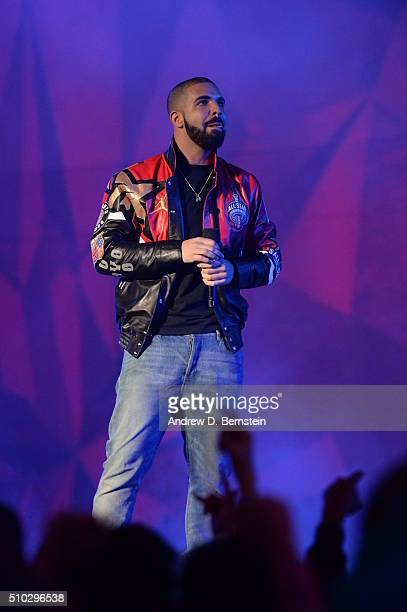 Canadian rapper Drake addresses the crowd before the NBA AllStar Game as part of 2016 NBA AllStar Weekend on February 14 2016 at the Air Canada...
