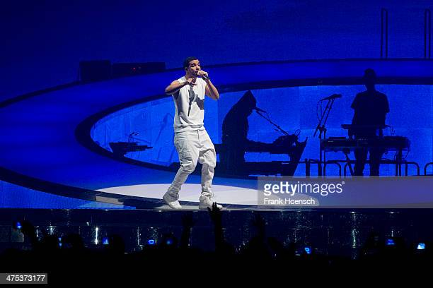 Canadian Rapper Drake performs live during a concert at the O2 World on February 27 2014 in Berlin Germany