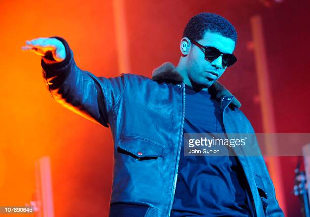 Canadian rapper Drake performs live on stage at the Carling O2 Academy on January 4 2011 in Glasgow Scotland