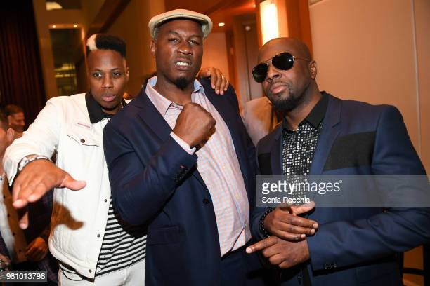 Canadian rapper Kardinal Offishall professional boxer Lennox Lewis and rapper Wyclef Jean attend Joe Carter Classic After Party at Ritz Carlton on...