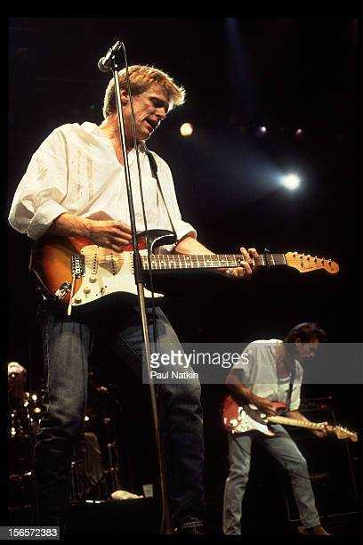 Canadian rock musician Bryan Adams performs at the Rosemont Horizon Chicago Illinois June 13 1986