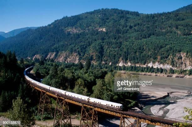 Canadian Rockies Lytton American Orient Express going over bridge