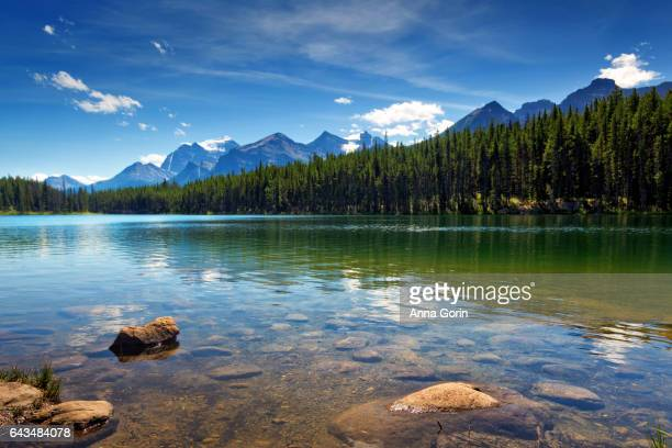 Canadian Rockies reflected in Herbert Lake along Icefields Parkway in Alberta, Canada, summer afternoon
