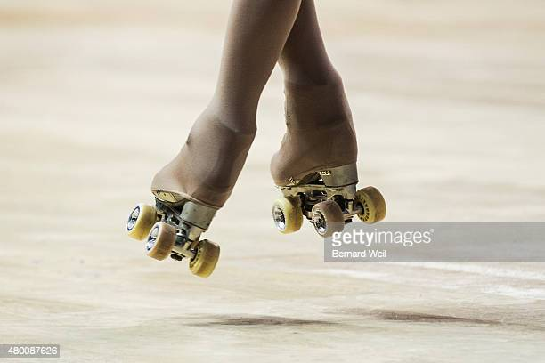 TORONTO ON JULY 9 Canadian Roller Figure Skater Kailah Macri gets airborne as she practices her routine at Exhibition Centre in preparation for the...