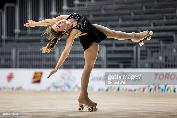TORONTO ON JULY 9 Canadian Roller Figure Skater Kailah Macri practices her routine at Exhibition Centre in preparation for the Pan Am Games...